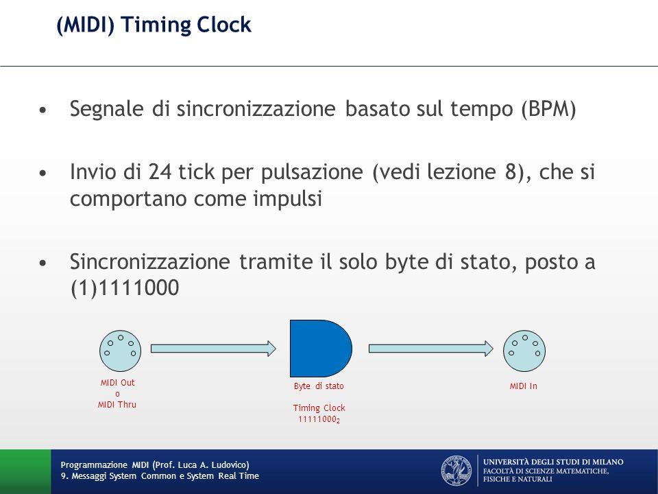 (MIDI) Timing Clock Segnale di sincronizzazione basato sul tempo (BPM) Invio di 24 tick per pulsazione (vedi lezione 8), che si comportano come impuls