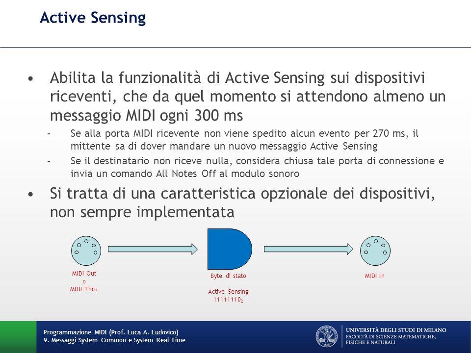 Active Sensing Abilita la funzionalità di Active Sensing sui dispositivi riceventi, che da quel momento si attendono almeno un messaggio MIDI ogni 300