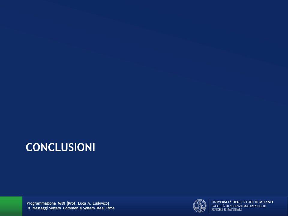 CONCLUSIONI Programmazione MIDI (Prof. Luca A. Ludovico) 9. Messaggi System Common e System Real Time