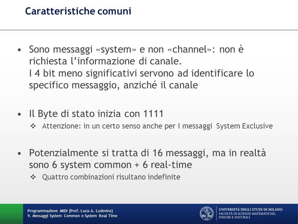 Caratteristiche comuni Sono messaggi «system» e non «channel»: non è richiesta linformazione di canale. I 4 bit meno significativi servono ad identifi