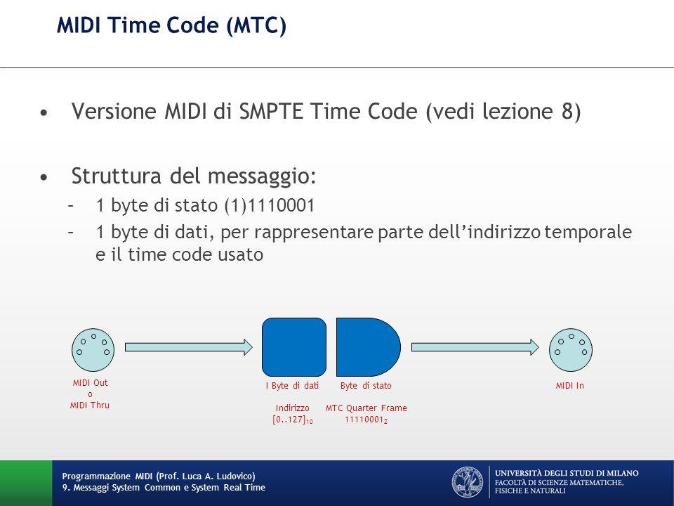 MIDI Time Code (MTC) Versione MIDI di SMPTE Time Code (vedi lezione 8) Struttura del messaggio: –1 byte di stato (1)1110001 –1 byte di dati, per rappr