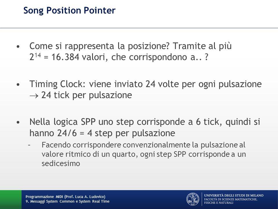 Song Position Pointer Come si rappresenta la posizione? Tramite al più 2 14 = 16.384 valori, che corrispondono a.. ? Timing Clock: viene inviato 24 vo