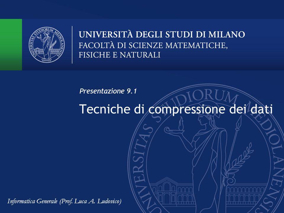 Tecniche di compressione dei dati Presentazione 9.1 Informatica Generale (Prof. Luca A. Ludovico)