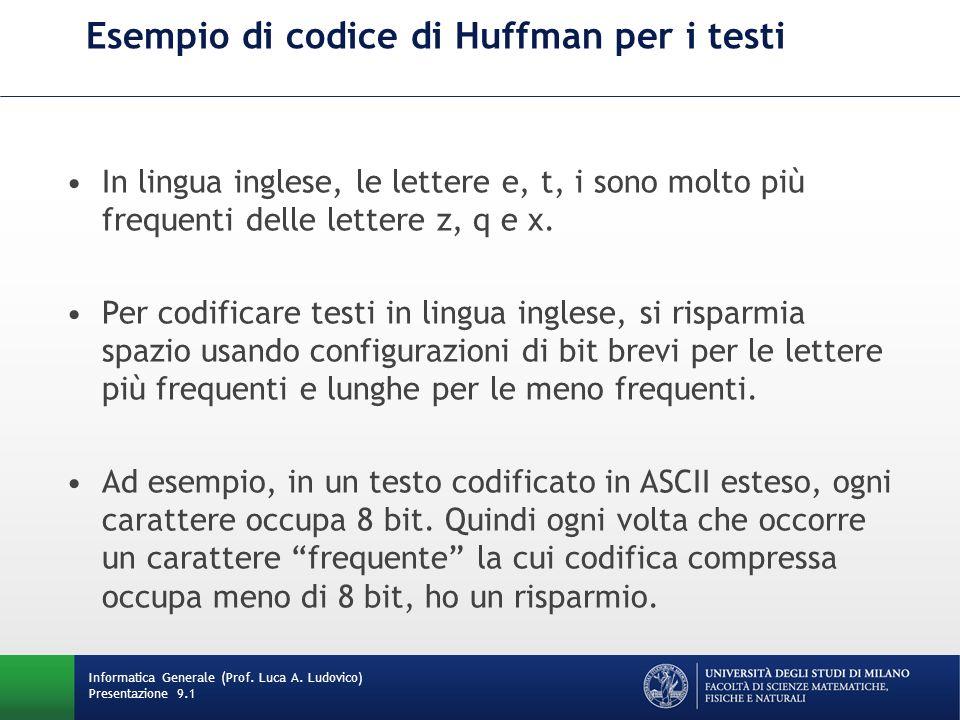 Esempio di codice di Huffman per i testi Informatica Generale (Prof. Luca A. Ludovico) Presentazione 9.1 In lingua inglese, le lettere e, t, i sono mo