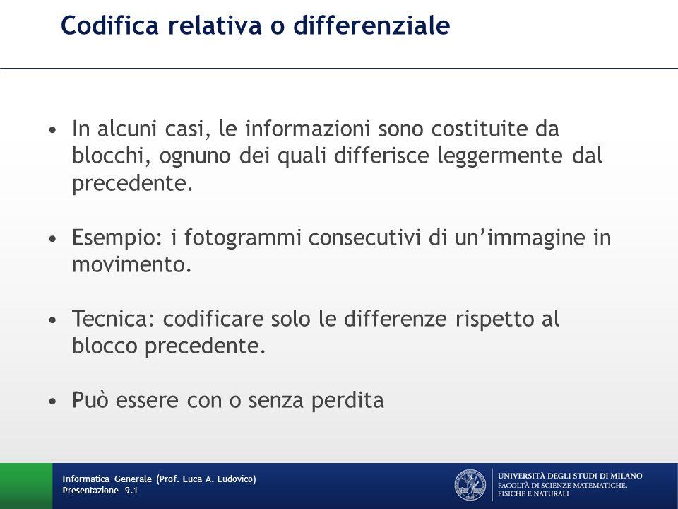 Codifica relativa o differenziale Informatica Generale (Prof. Luca A. Ludovico) Presentazione 9.1 In alcuni casi, le informazioni sono costituite da b