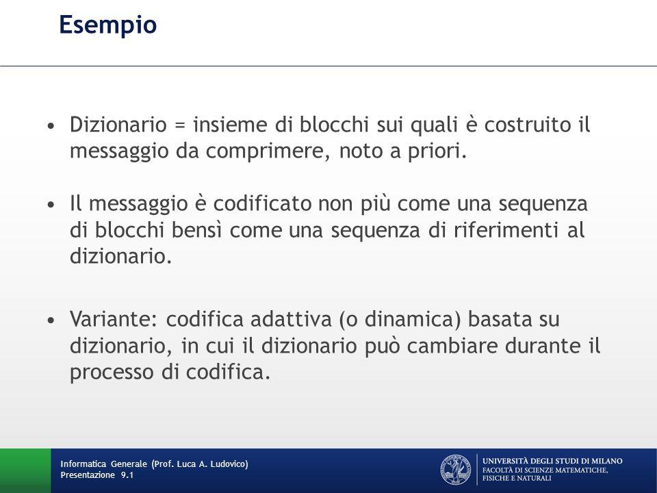 Esempio Informatica Generale (Prof. Luca A. Ludovico) Presentazione 9.1 Dizionario = insieme di blocchi sui quali è costruito il messaggio da comprime