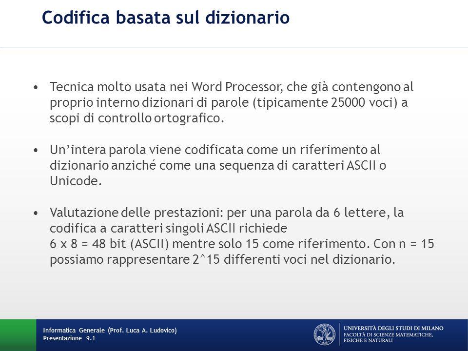 Codifica basata sul dizionario Informatica Generale (Prof. Luca A. Ludovico) Presentazione 9.1 Tecnica molto usata nei Word Processor, che già conteng