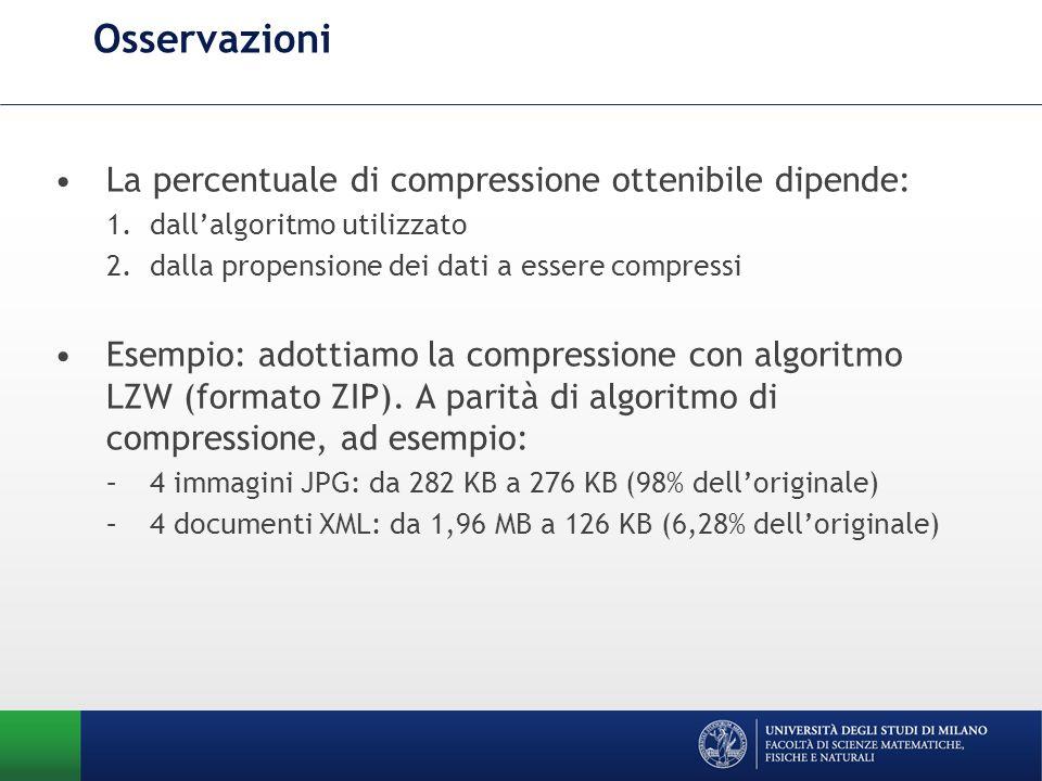 Osservazioni La percentuale di compressione ottenibile dipende: 1.dallalgoritmo utilizzato 2.dalla propensione dei dati a essere compressi Esempio: ad