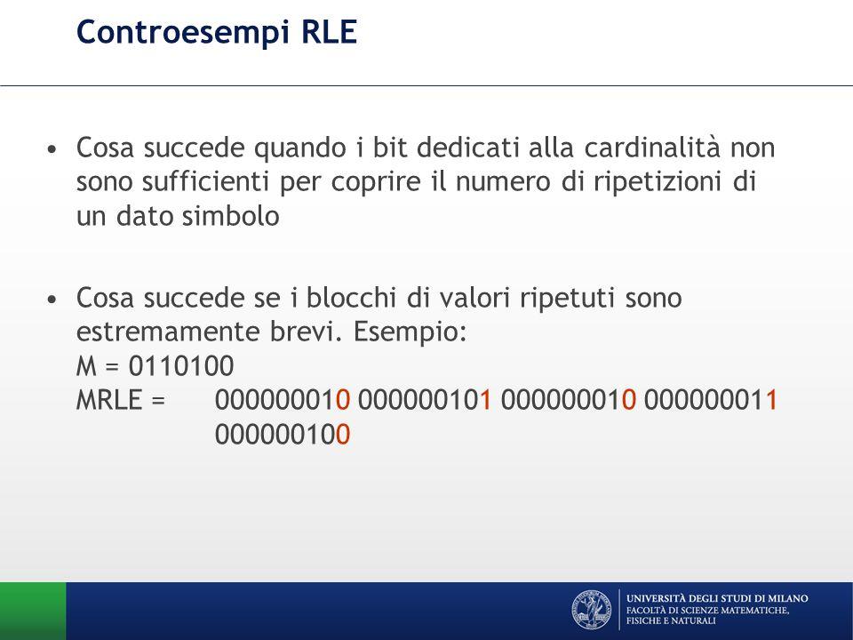 Controesempi RLE Cosa succede quando i bit dedicati alla cardinalità non sono sufficienti per coprire il numero di ripetizioni di un dato simbolo Cosa