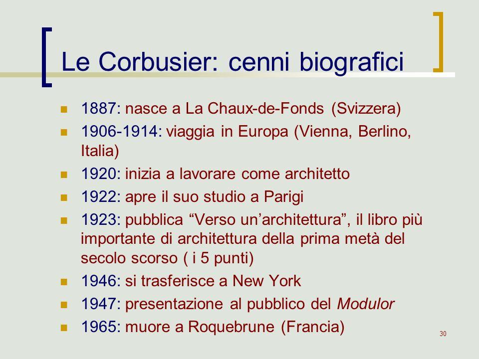 30 1887: nasce a La Chaux-de-Fonds (Svizzera) 1906-1914: viaggia in Europa (Vienna, Berlino, Italia) 1920: inizia a lavorare come architetto 1922: apr