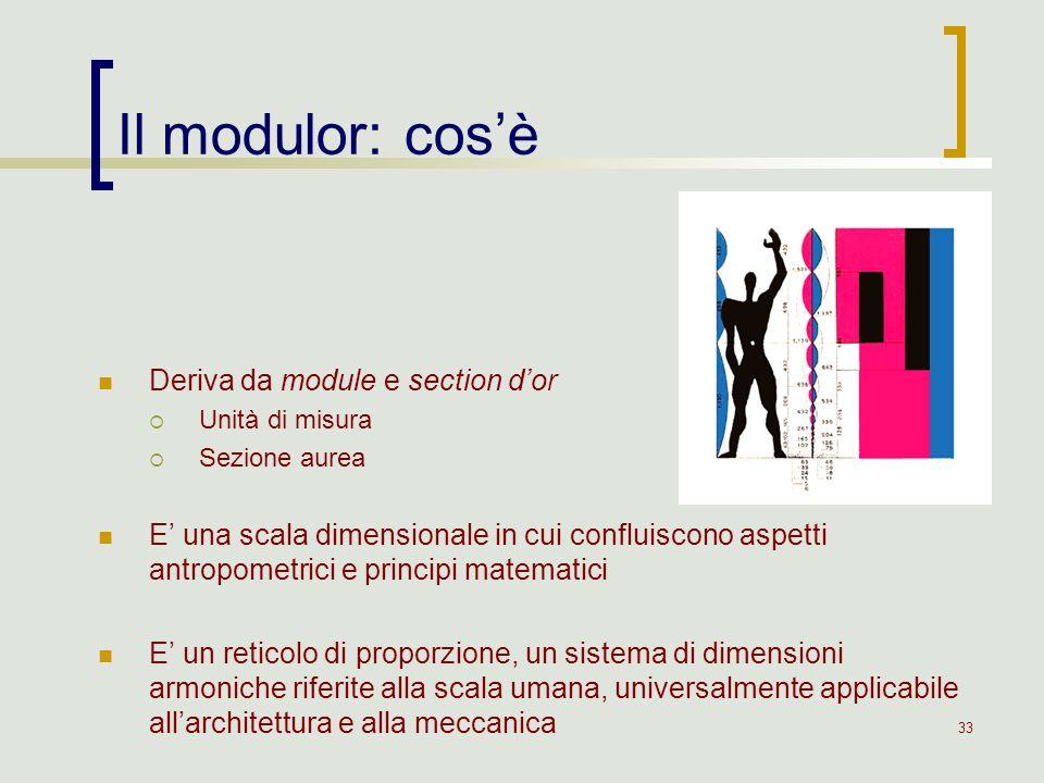 33 Il modulor: cosè Deriva da module e section dor Unità di misura Sezione aurea E una scala dimensionale in cui confluiscono aspetti antropometrici e