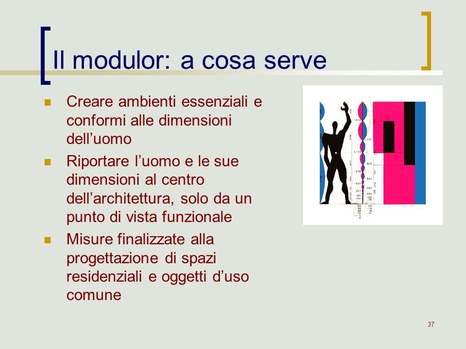 37 Il modulor: a cosa serve Creare ambienti essenziali e conformi alle dimensioni delluomo Riportare luomo e le sue dimensioni al centro dellarchitett