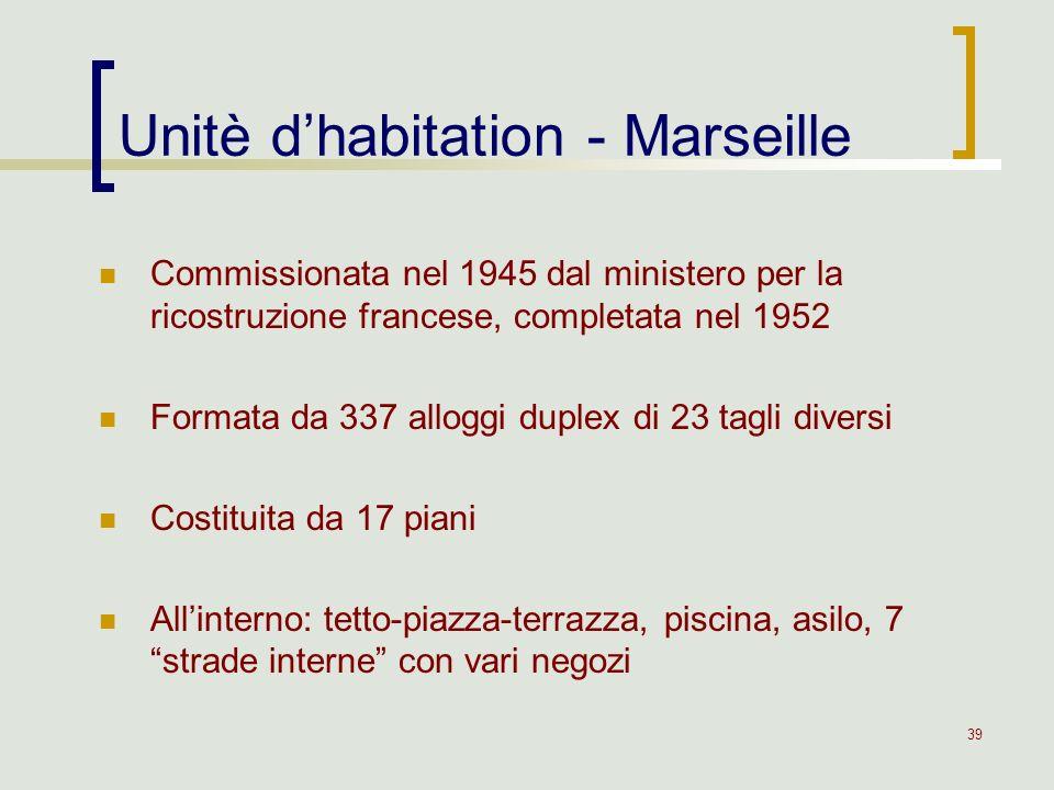 39 Unitè dhabitation - Marseille Commissionata nel 1945 dal ministero per la ricostruzione francese, completata nel 1952 Formata da 337 alloggi duplex