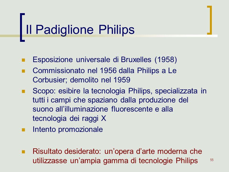 55 Il Padiglione Philips Esposizione universale di Bruxelles (1958) Commissionato nel 1956 dalla Philips a Le Corbusier; demolito nel 1959 Scopo: esib