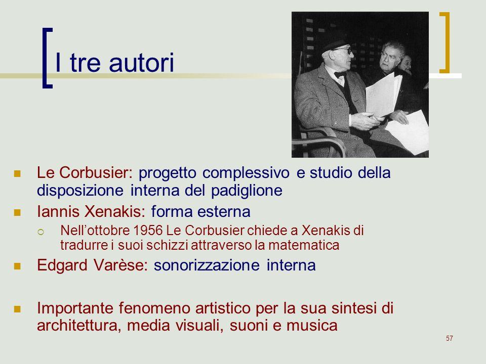 57 I tre autori Le Corbusier: progetto complessivo e studio della disposizione interna del padiglione Iannis Xenakis: forma esterna Nellottobre 1956 L