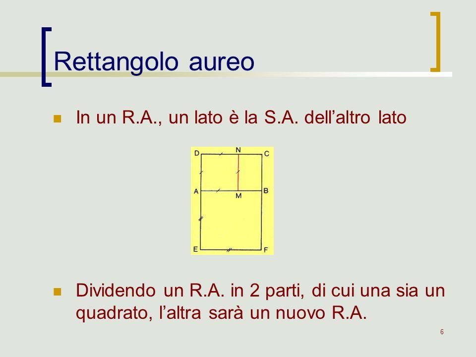 6 In un R.A., un lato è la S.A. dellaltro lato Dividendo un R.A. in 2 parti, di cui una sia un quadrato, laltra sarà un nuovo R.A. Rettangolo aureo