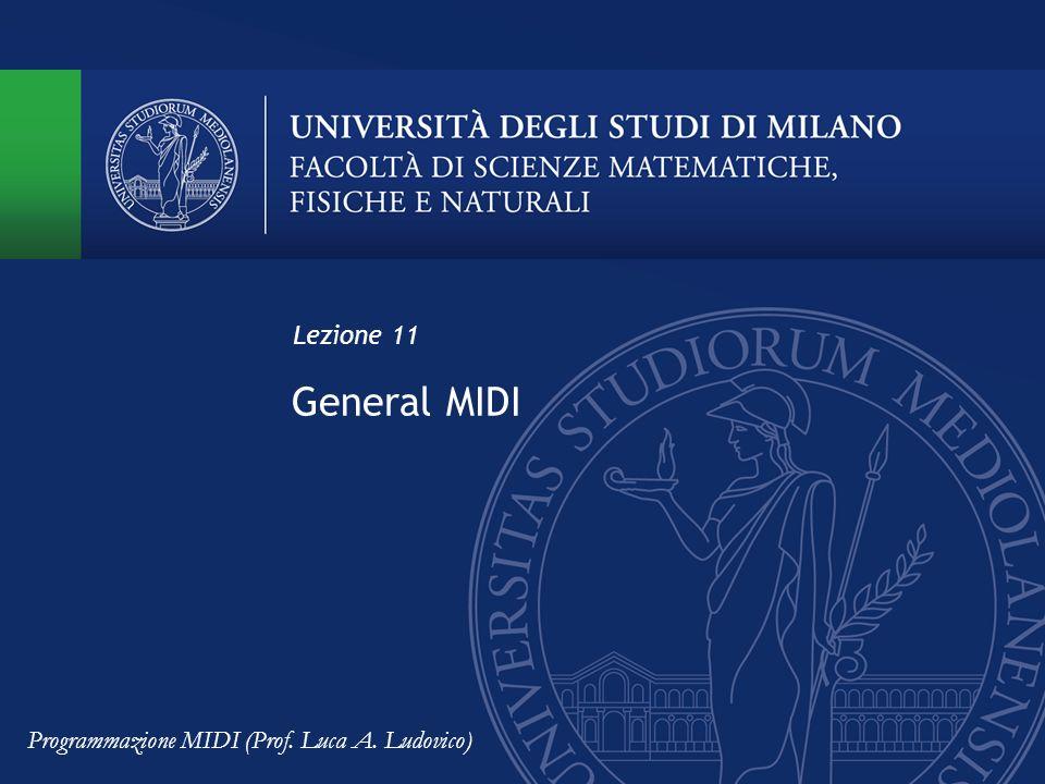 General MIDI Lezione 11 Programmazione MIDI (Prof. Luca A. Ludovico)