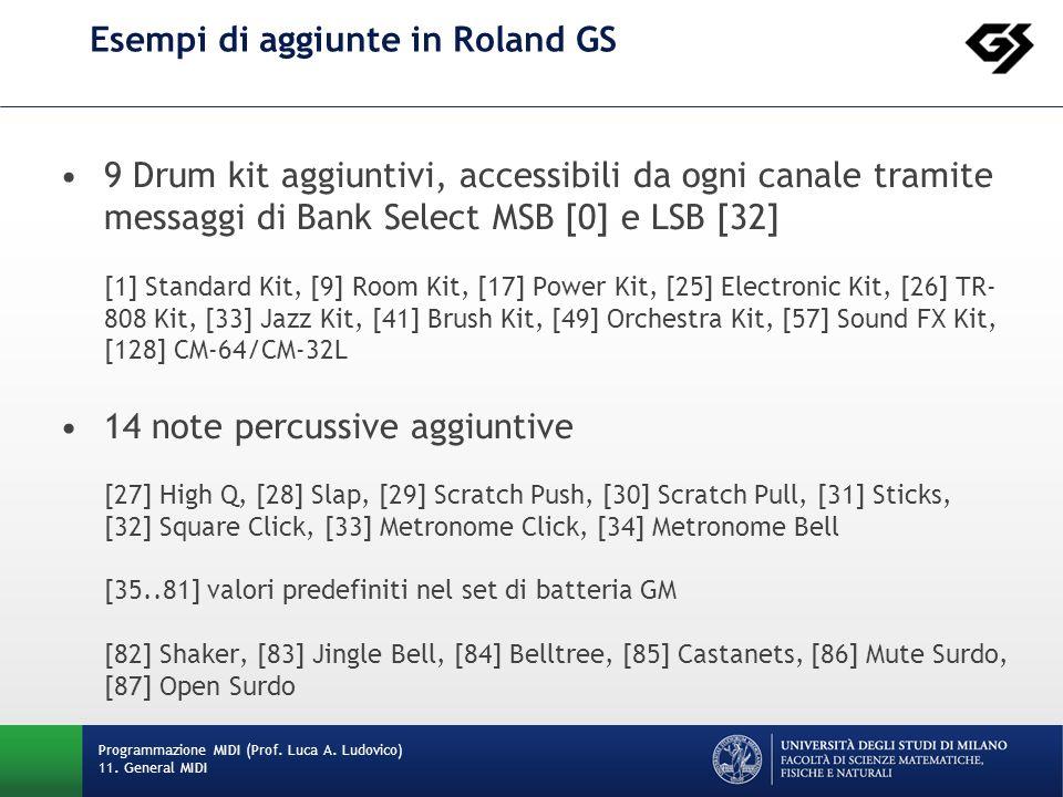 Esempi di aggiunte in Roland GS 9 Drum kit aggiuntivi, accessibili da ogni canale tramite messaggi di Bank Select MSB [0] e LSB [32] [1] Standard Kit, [9] Room Kit, [17] Power Kit, [25] Electronic Kit, [26] TR- 808 Kit, [33] Jazz Kit, [41] Brush Kit, [49] Orchestra Kit, [57] Sound FX Kit, [128] CM-64/CM-32L 14 note percussive aggiuntive [27] High Q, [28] Slap, [29] Scratch Push, [30] Scratch Pull, [31] Sticks, [32] Square Click, [33] Metronome Click, [34] Metronome Bell [35..81] valori predefiniti nel set di batteria GM [82] Shaker, [83] Jingle Bell, [84] Belltree, [85] Castanets, [86] Mute Surdo, [87] Open Surdo Programmazione MIDI (Prof.