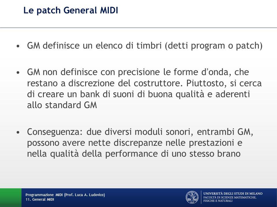 Le patch General MIDI GM definisce un elenco di timbri (detti program o patch) GM non definisce con precisione le forme donda, che restano a discrezione del costruttore.