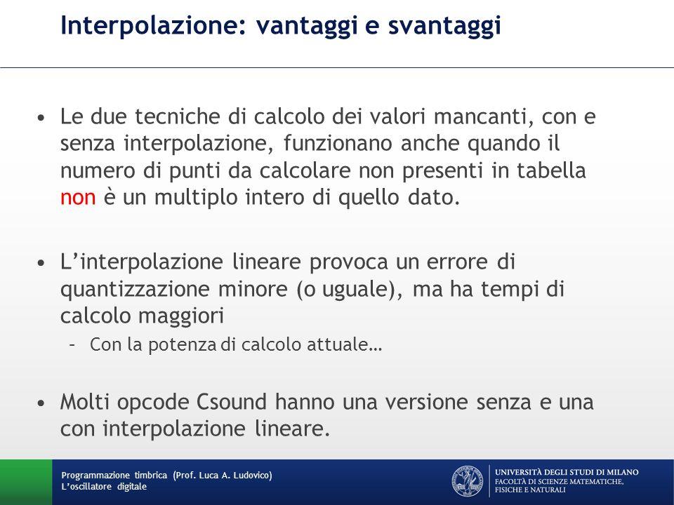 Programmazione timbrica (Prof. Luca A. Ludovico) Loscillatore digitale Interpolazione: vantaggi e svantaggi Le due tecniche di calcolo dei valori manc