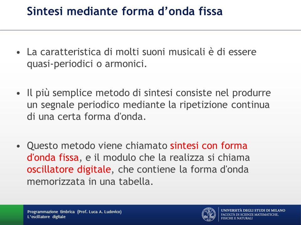 Programmazione timbrica (Prof. Luca A. Ludovico) Loscillatore digitale Sintesi mediante forma donda fissa La caratteristica di molti suoni musicali è