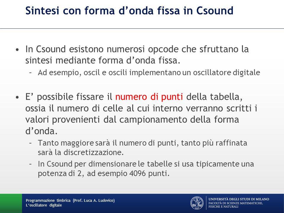 Programmazione timbrica (Prof. Luca A. Ludovico) Loscillatore digitale Sintesi con forma donda fissa in Csound In Csound esistono numerosi opcode che
