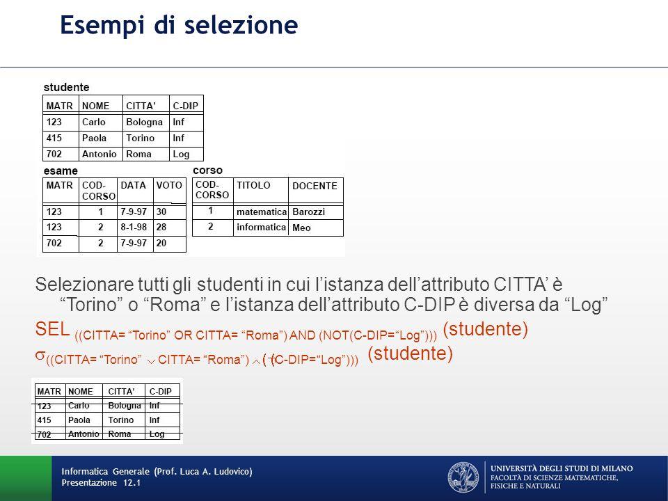 Esempi di selezione Informatica Generale (Prof.Luca A.