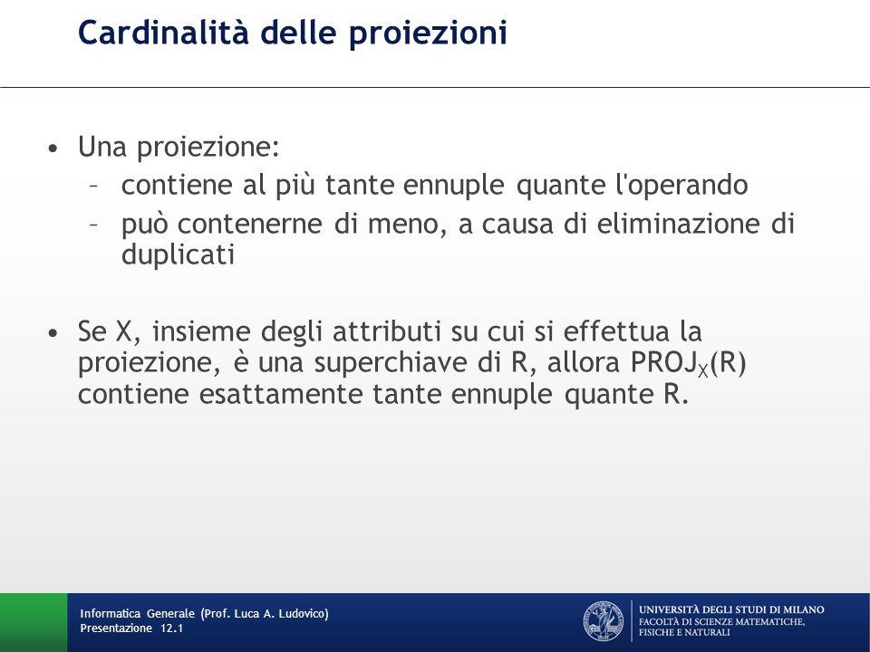 Cardinalità delle proiezioni Informatica Generale (Prof.