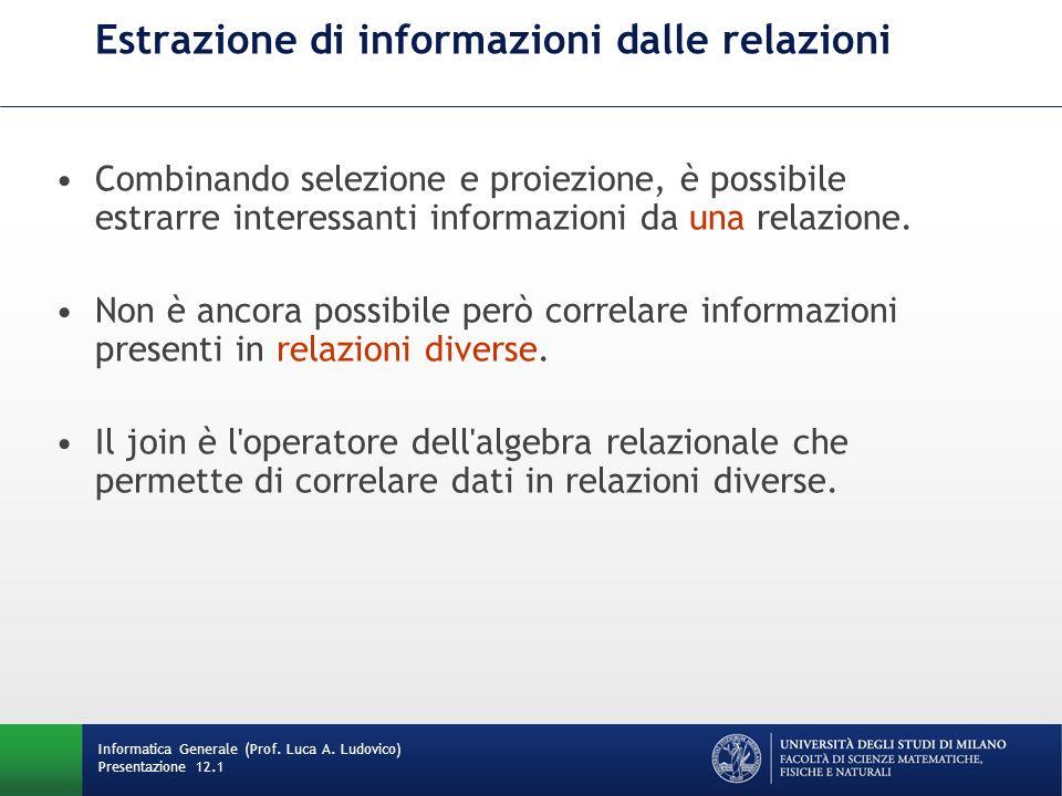 Estrazione di informazioni dalle relazioni Informatica Generale (Prof.