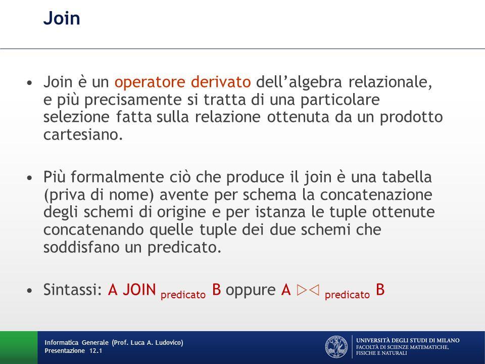 Join Join è un operatore derivato dellalgebra relazionale, e più precisamente si tratta di una particolare selezione fatta sulla relazione ottenuta da un prodotto cartesiano.