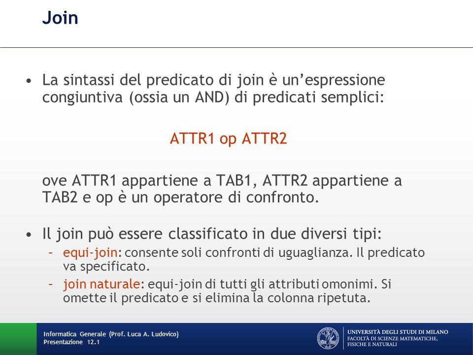 Join La sintassi del predicato di join è unespressione congiuntiva (ossia un AND) di predicati semplici: ATTR1 op ATTR2 ove ATTR1 appartiene a TAB1, ATTR2 appartiene a TAB2 e op è un operatore di confronto.