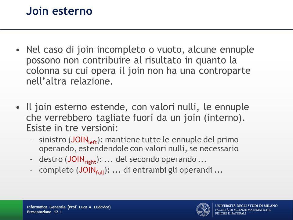 Join esterno Nel caso di join incompleto o vuoto, alcune ennuple possono non contribuire al risultato in quanto la colonna su cui opera il join non ha una controparte nellaltra relazione.