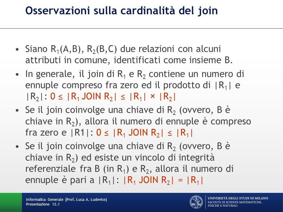 Osservazioni sulla cardinalità del join Siano R 1 (A,B), R 2 (B,C) due relazioni con alcuni attributi in comune, identificati come insieme B.