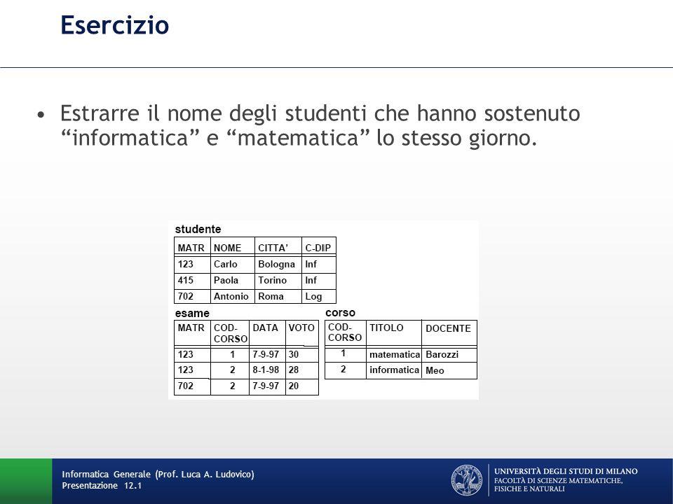 Esercizio Estrarre il nome degli studenti che hanno sostenuto informatica e matematica lo stesso giorno.
