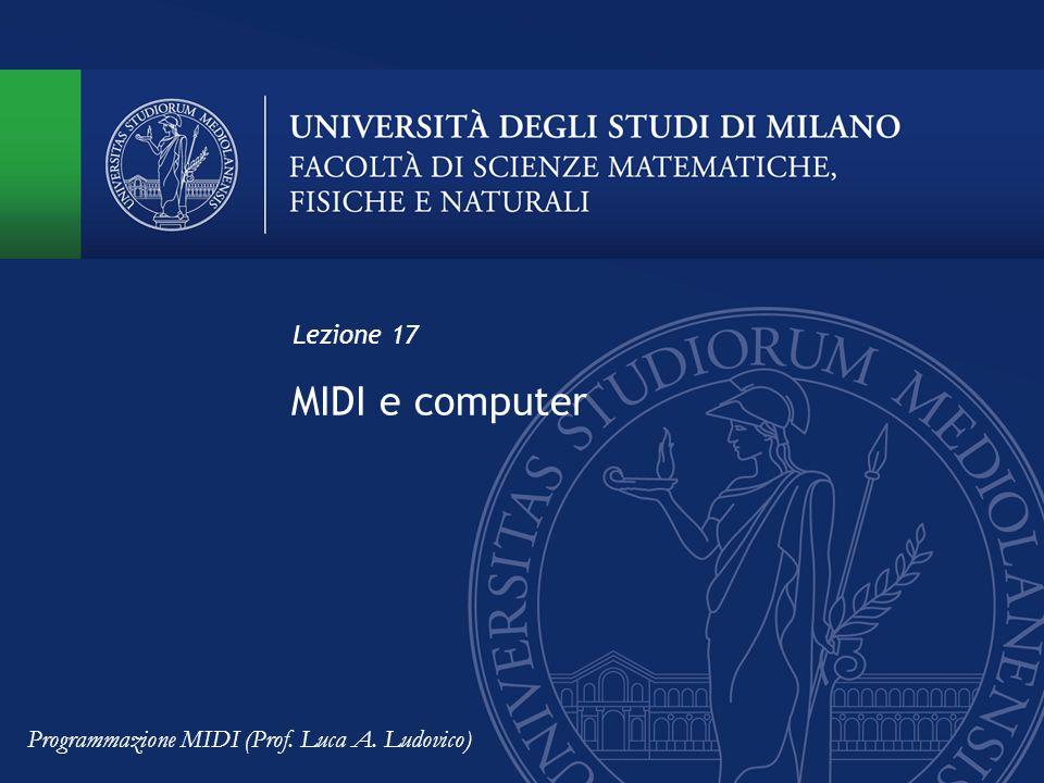MIDI e computer Lezione 17 Programmazione MIDI (Prof. Luca A. Ludovico)