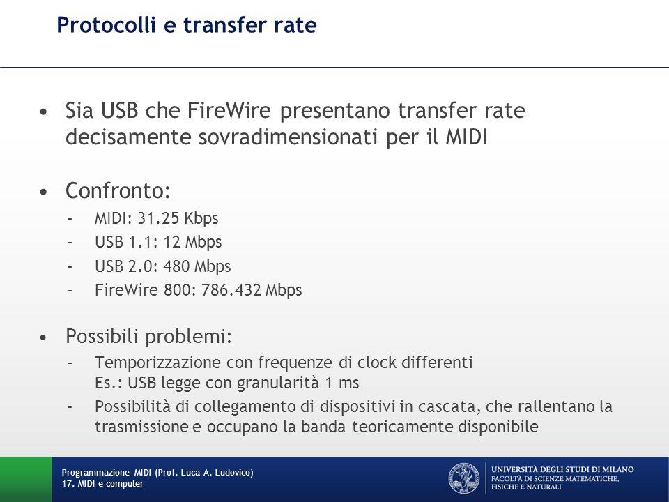 Sia USB che FireWire presentano transfer rate decisamente sovradimensionati per il MIDI Confronto: –MIDI: 31.25 Kbps –USB 1.1: 12 Mbps –USB 2.0: 480 M