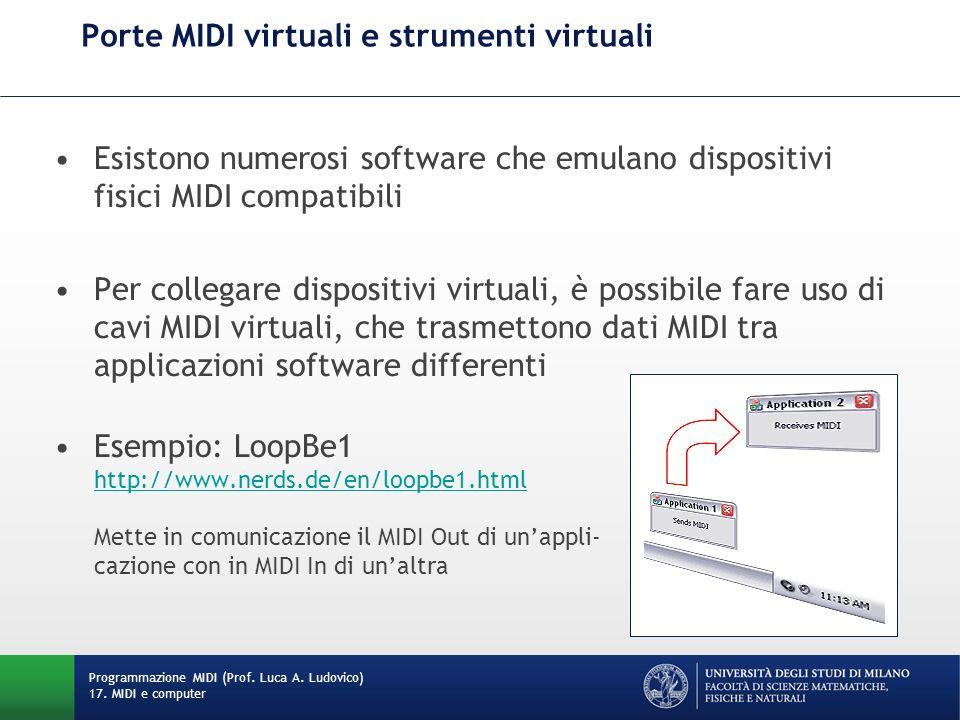 Esistono numerosi software che emulano dispositivi fisici MIDI compatibili Per collegare dispositivi virtuali, è possibile fare uso di cavi MIDI virtu