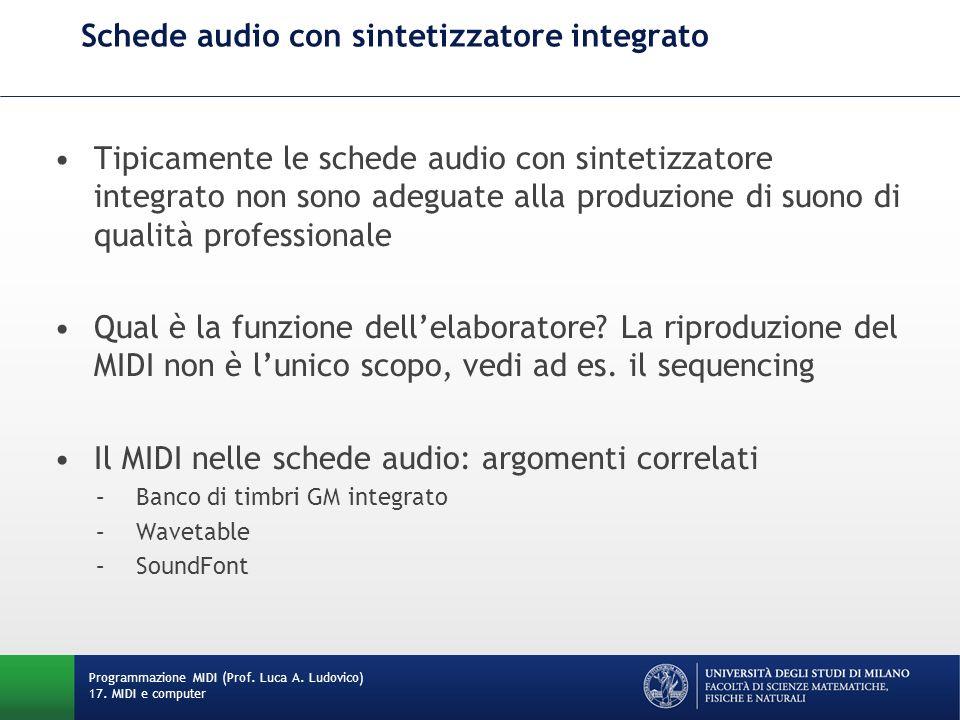 Tipicamente le schede audio con sintetizzatore integrato non sono adeguate alla produzione di suono di qualità professionale Qual è la funzione dellel