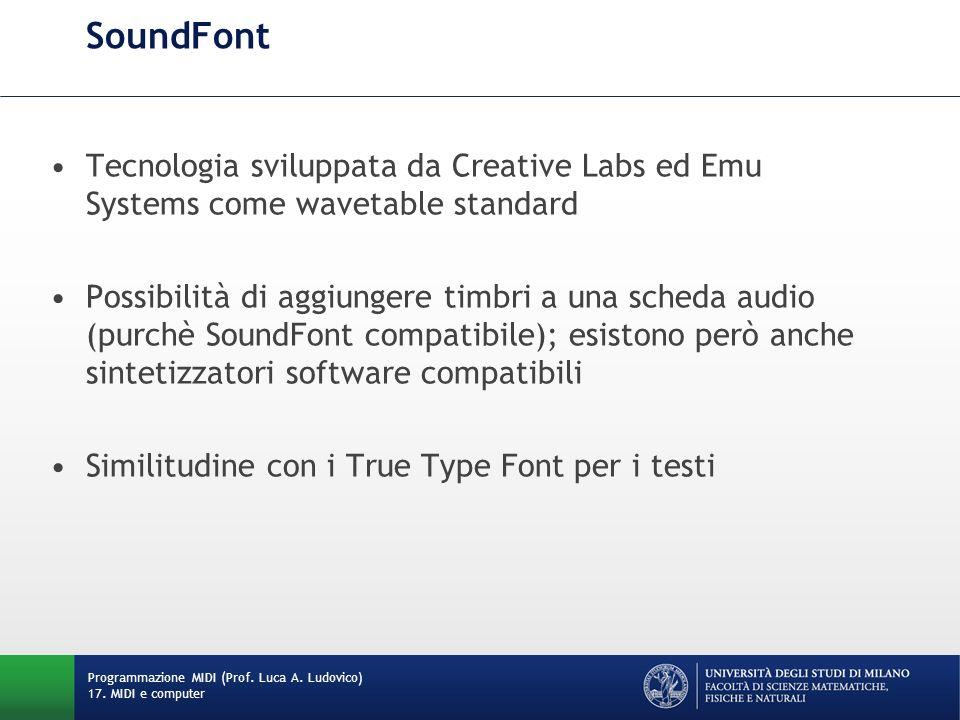 SoundFont Tecnologia sviluppata da Creative Labs ed Emu Systems come wavetable standard Possibilità di aggiungere timbri a una scheda audio (purchè So