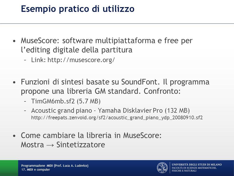 Esempio pratico di utilizzo MuseScore: software multipiattaforma e free per lediting digitale della partitura –Link: http://musescore.org/ Funzioni di