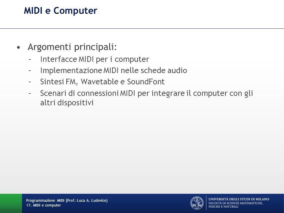 Argomenti principali: –Interfacce MIDI per i computer –Implementazione MIDI nelle schede audio –Sintesi FM, Wavetable e SoundFont –Scenari di connessi