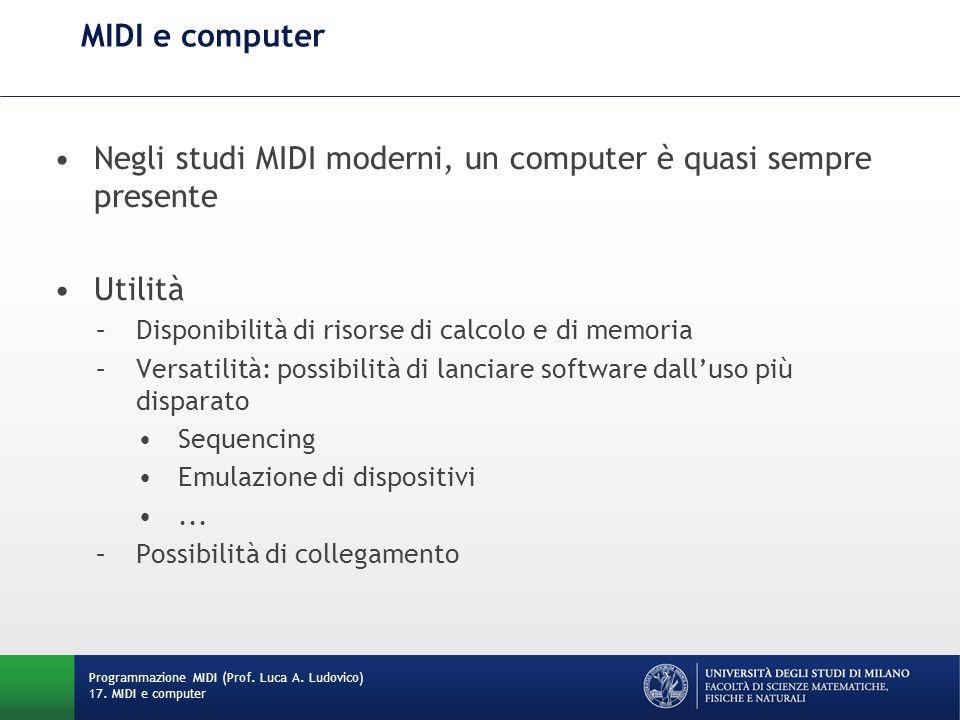 Esistono numerosi software che emulano dispositivi fisici MIDI compatibili Per collegare dispositivi virtuali, è possibile fare uso di cavi MIDI virtuali, che trasmettono dati MIDI tra applicazioni software differenti Esempio: LoopBe1 http://www.nerds.de/en/loopbe1.html Mette in comunicazione il MIDI Out di unappli- cazione con in MIDI In di unaltra http://www.nerds.de/en/loopbe1.html Porte MIDI virtuali e strumenti virtuali Programmazione MIDI (Prof.