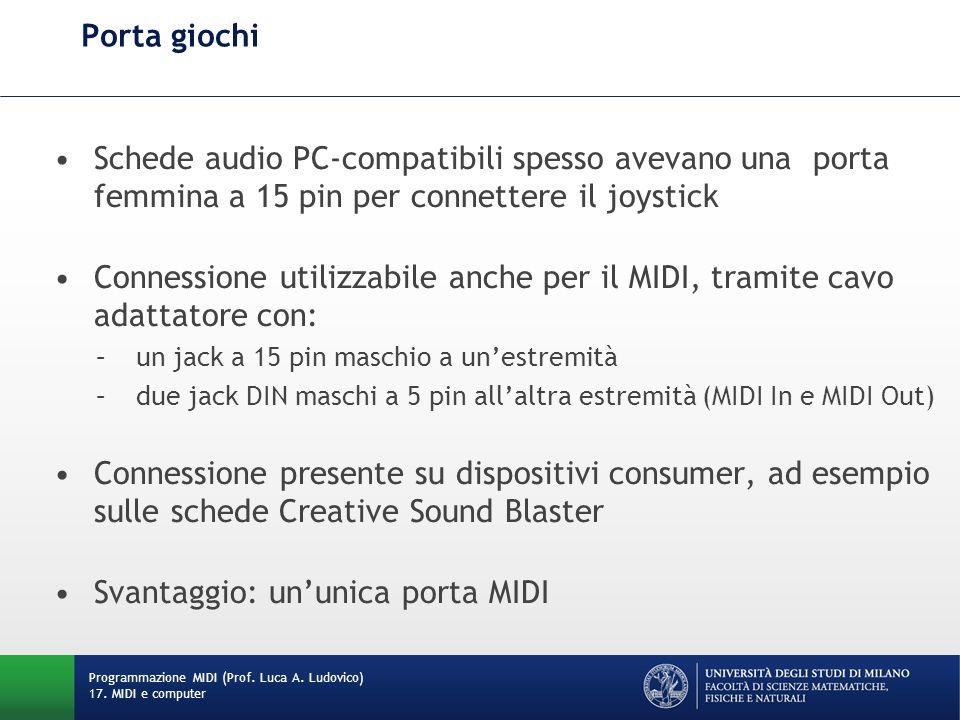 Porta giochi: cavo adattatore Programmazione MIDI (Prof. Luca A. Ludovico) 17. MIDI e computer
