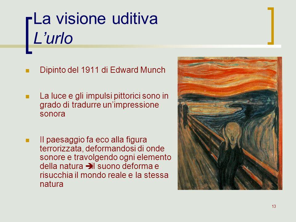 13 La visione uditiva Lurlo Dipinto del 1911 di Edward Munch La luce e gli impulsi pittorici sono in grado di tradurre unimpressione sonora Il paesagg