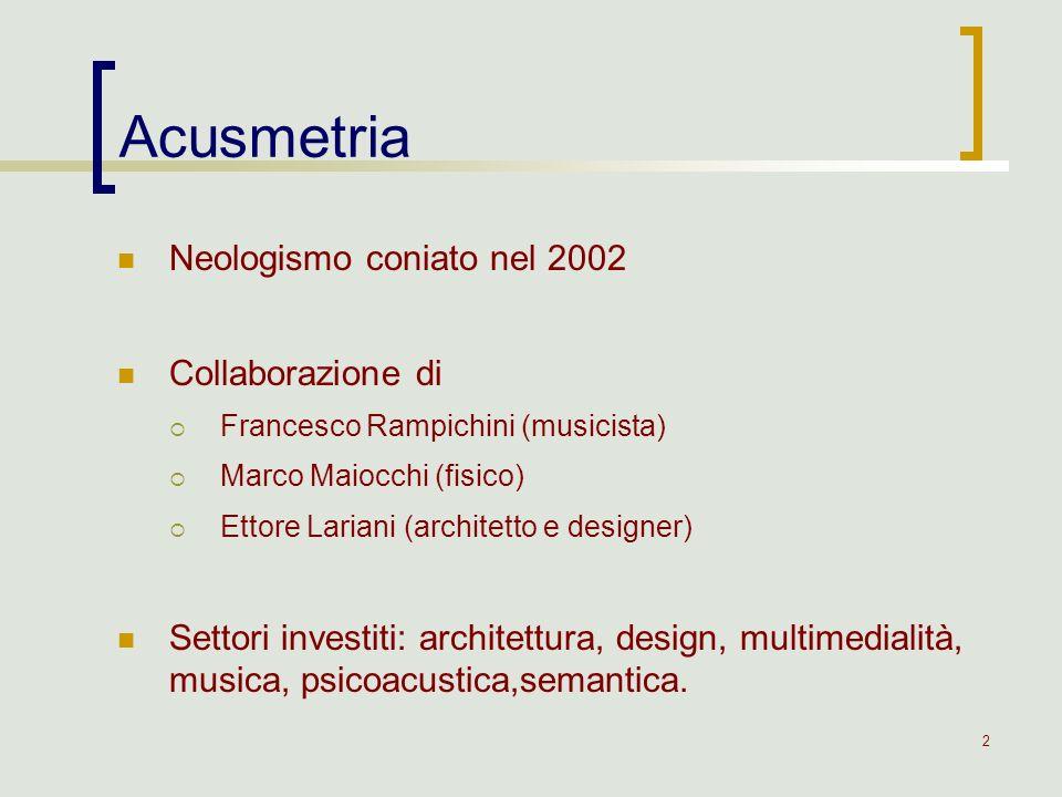 3 Acusmetria = acustica + metrìa acustica = parte della fisica che studia la generazione, la propagazione e la ricezione del suono -metrìa = misura Disciplina delle proporzioni e delle misure delle forme acusmetriche Acusmetria: definizioni
