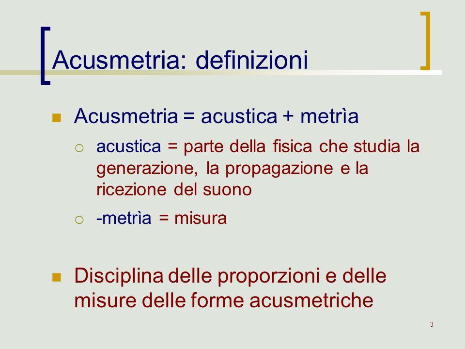 3 Acusmetria = acustica + metrìa acustica = parte della fisica che studia la generazione, la propagazione e la ricezione del suono -metrìa = misura Di