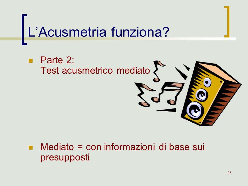 37 LAcusmetria funziona? Parte 2: Test acusmetrico mediato Mediato = con informazioni di base sui presupposti
