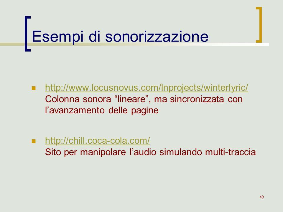 49 http://www.locusnovus.com/lnprojects/winterlyric/ Colonna sonora lineare, ma sincronizzata con lavanzamento delle pagine http://www.locusnovus.com/