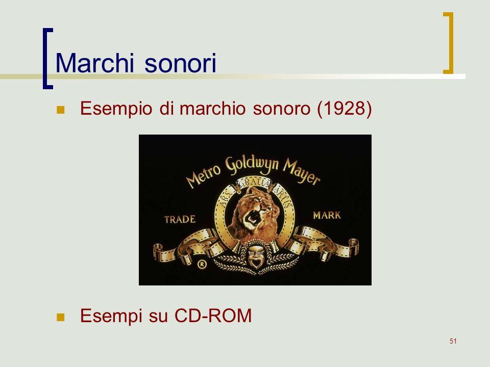 51 Marchi sonori Esempio di marchio sonoro (1928) Esempi su CD-ROM