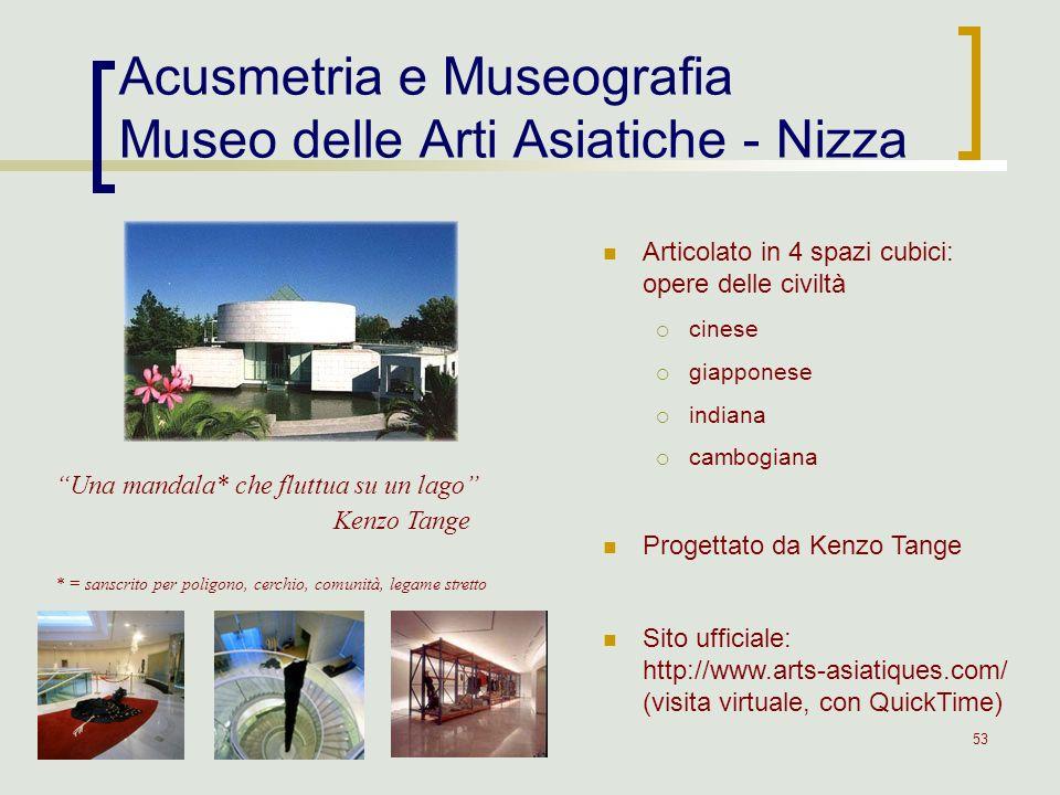 53 Acusmetria e Museografia Museo delle Arti Asiatiche - Nizza Articolato in 4 spazi cubici: opere delle civiltà cinese giapponese indiana cambogiana